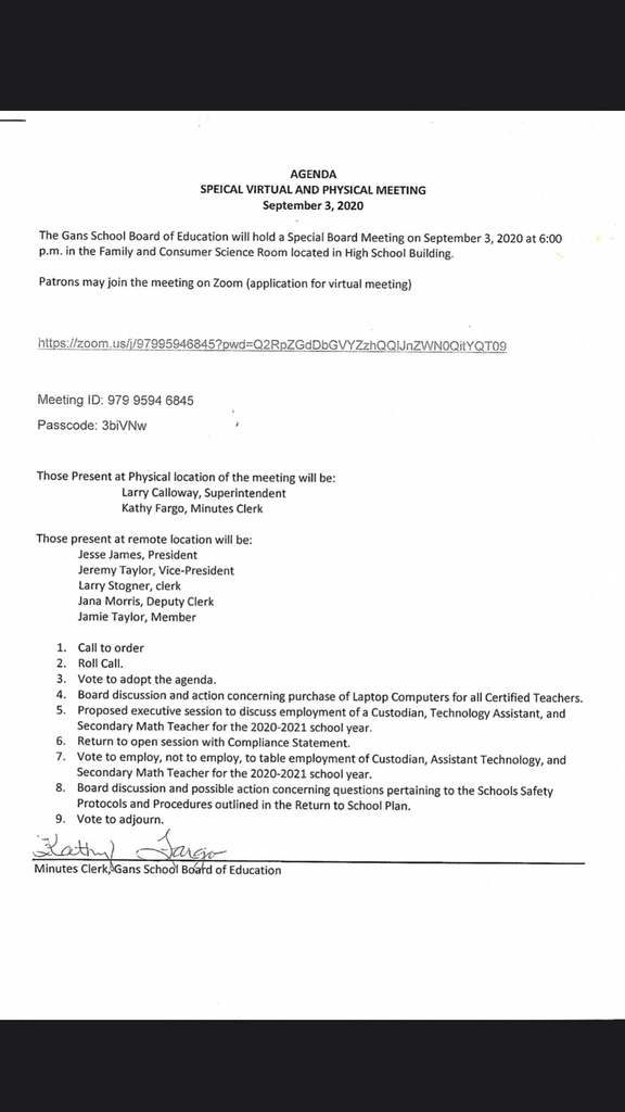 Agenda for Special Board Meeting 09/03/20